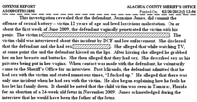 Jermaine Jones arrest report takes victim to Michael Benjamin for abortion