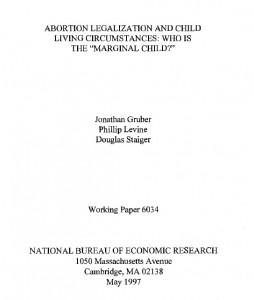 Abortion legalization marginal child Gruber paper