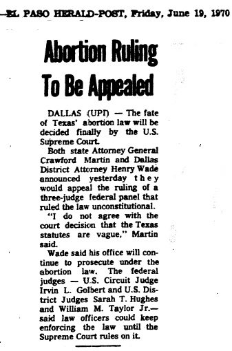 an analysis of the roe v wade case that originated in the state of texas in 1970 Roe v wade was a landmark 1973 supreme court decision that  the legal precedent for the decision was rooted in the 1965 case of griswold v  texas, at the age.
