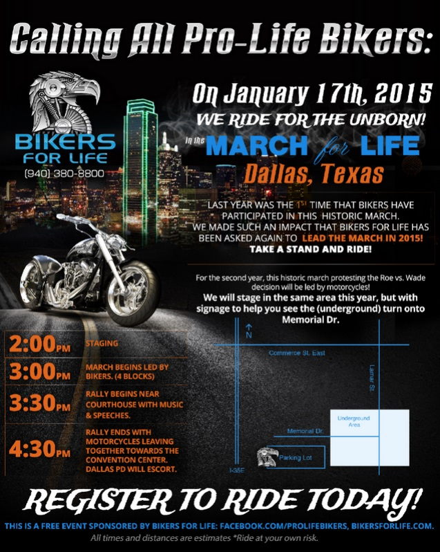 2015 Bikers for Life Ride for Unborn Dallas Texas