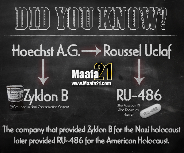 Did you know that the company that provided Zyklon B for the Nazi holocaust later provided RU-486 for the American holocaust?
