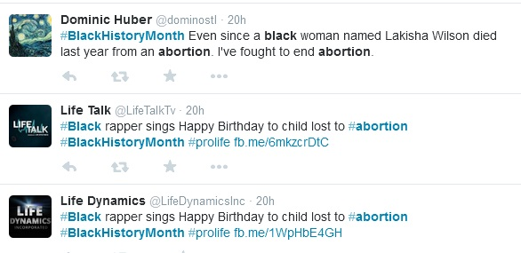 Black History Month abortion tweets