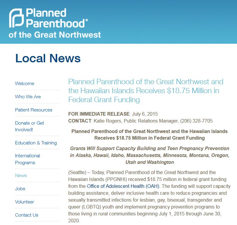 HHS grants $18.75 million to Planned Parenthood which ...