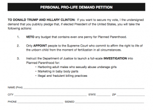 Personal Demand Petition