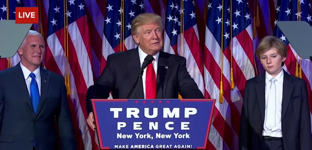 President Elect Donald Trump during his acceptance speech.