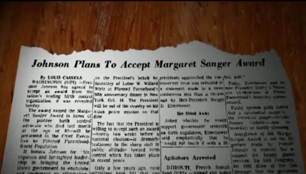 Maafa 21 screenshot of the Article Announcing Johnson Plans to Accpet Margaret Sanger Award