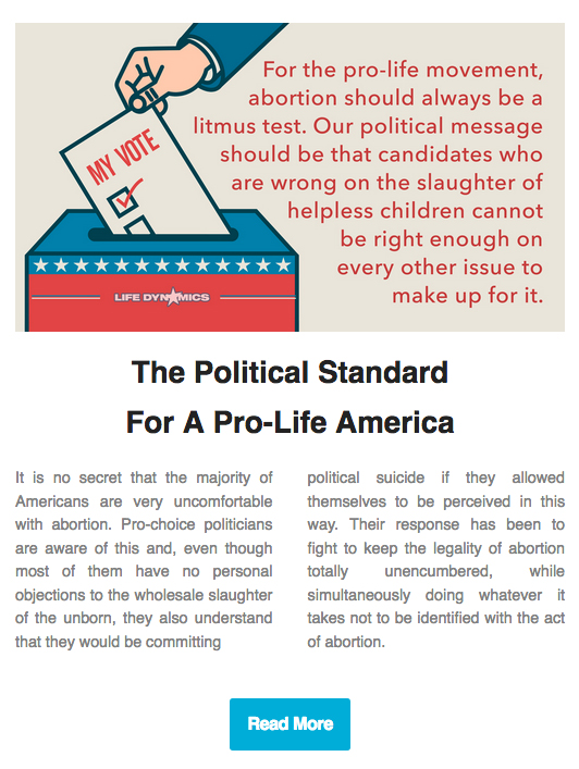 The Political Standard For A Pro-Life America (Click To Continue Reading)