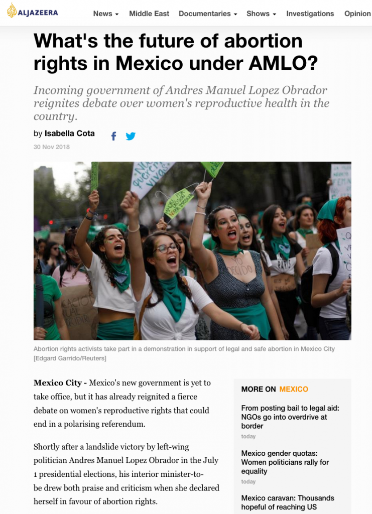 """What's the future of abortion rights in Mexico under AMLO? Incoming government of Andres Manuel Lopez Obrador reignites debate over women's reproductive health in the country."""