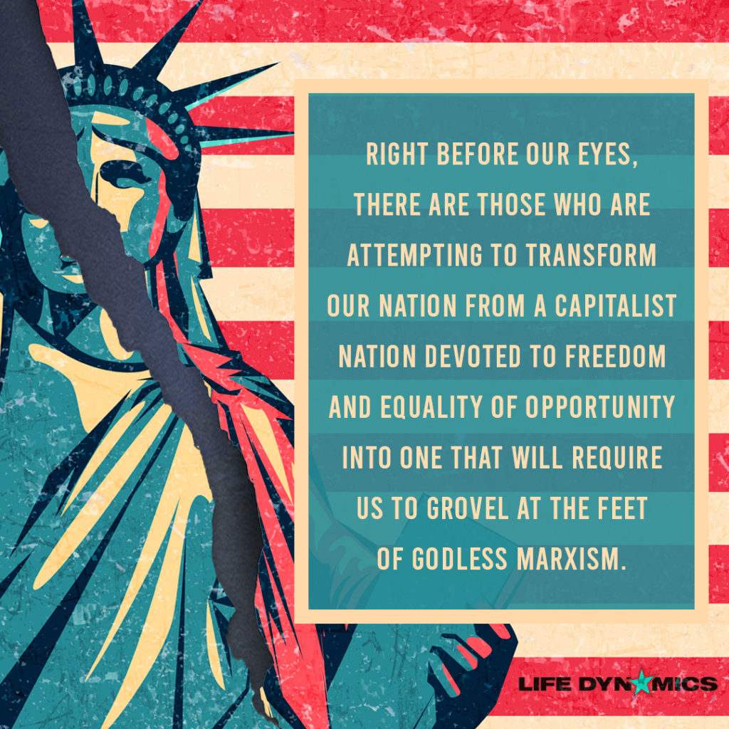 Right before our eyes, there are those who are attempting to transform our nation from a capitalist nation devoted to freedom and equality of opportunity into one that will require us to grovel at the feet of Godless Marxism. - Life Dynamics