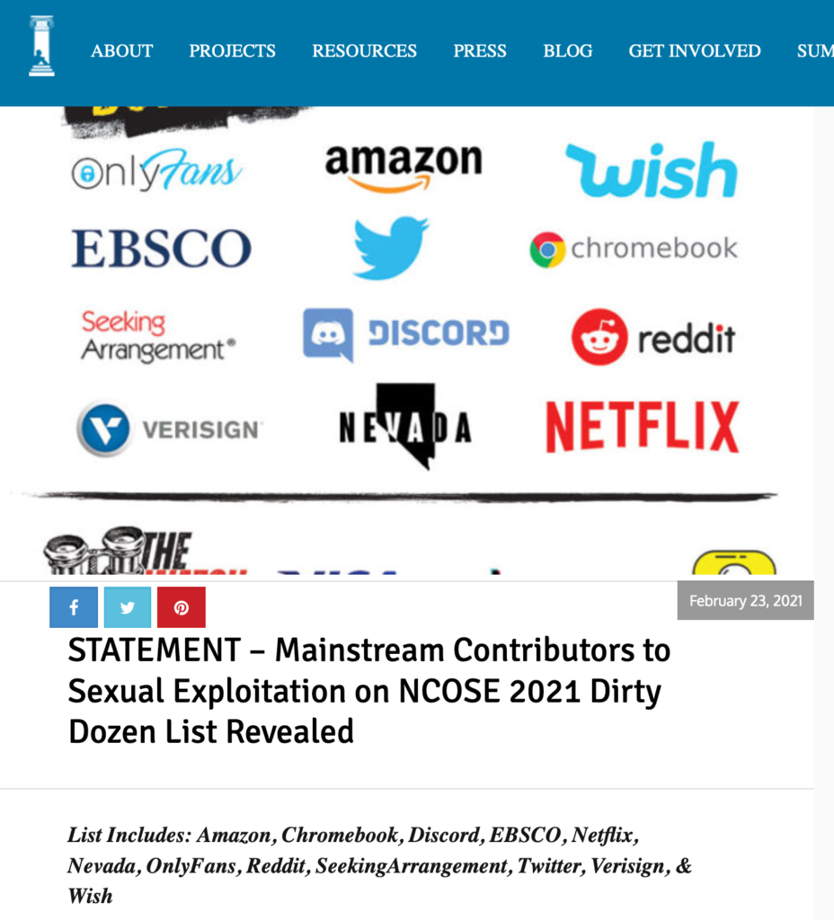 """Article revealing the 2021 """"Dirty Dozen"""" by the National Center on Sexual Exploitation"""